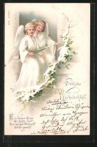 Lithographie Fröhliche Weihnachten, Ein heisser Gruss in kalter Zeit..., Singende Weihnachtsengel