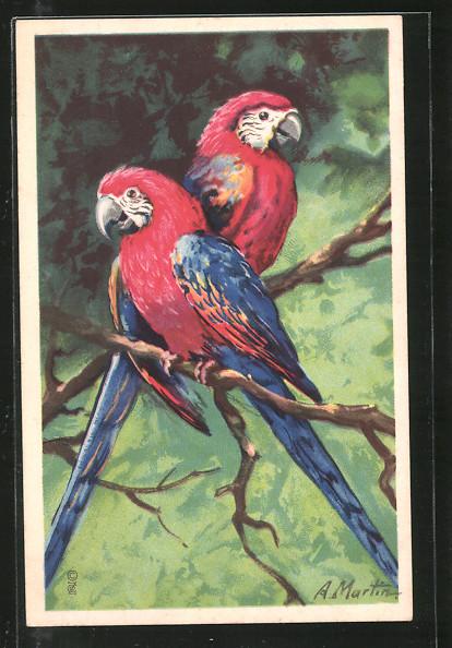 Künstler-AK Papageien-Paar auf einem Ast