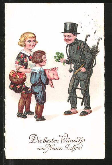 AK Neujahrsgruss, Schornsteinfeger mit Klee und Junge mit Schwein