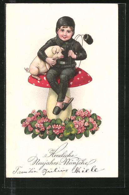 AK Neujahrsgruss, Schornsteinfeger mit Schwein auf einem Fliegenpilz
