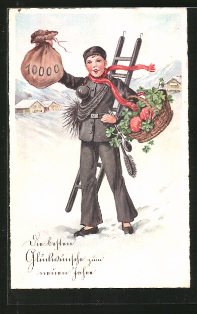 AK Neujahrsgruss, Schornsteinfeger mit Geldsack und Glücksbringern