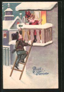 AK Schornsteinfeger klettert zum Balkon und reicht Kleeblätter