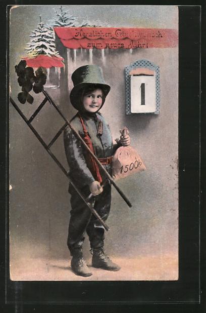 AK Kleiner Schornsteinfeger mit Geldsack vor dem Kalenderblatt