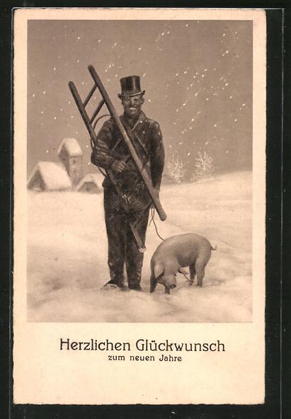 AK Lachender Schornsteinfeger mit Schwein im Schneegestöber