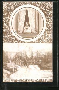 Foto-AK Junge Frau blick aus dem Fenster, Blick auf ein Wehr