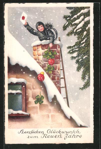AK Schornsteinfeger mit Brief, Kleeblättern und Fliegenpilzen auf dem Dach