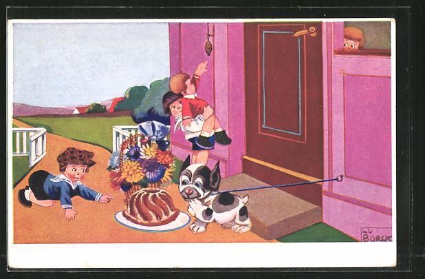 Künstler-AK Theo Stroefer Nr. 5021: Kinder mit Kuchen und Blumenstrauss