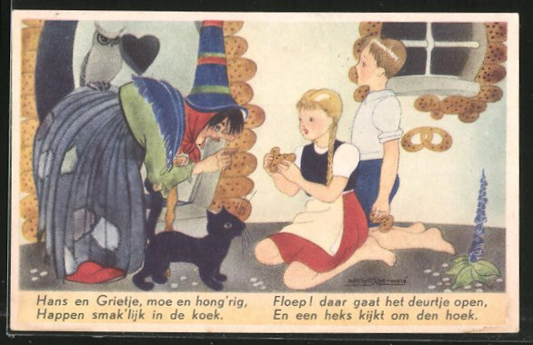 Künstler-AK Willy Schermele: Hänsel und Gretel bei der Hexe