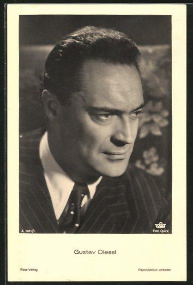 AK Schauspieler Gustav Diessl im Anzug porträtiert