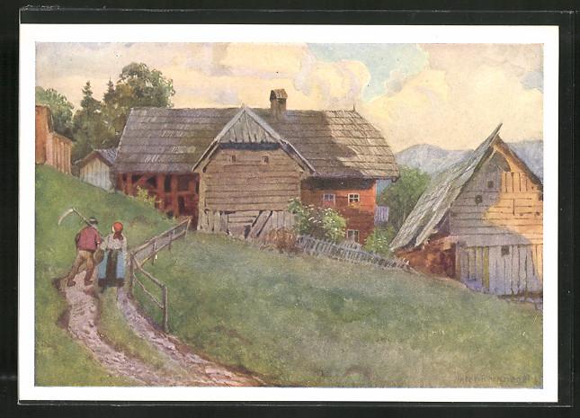 Künstler-AK Krieglach, Blick auf ein Bauerngehöft