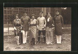 AK Kronprinz Wilhelm, Prinz Eitel Friedrich, Prinz August Wilhelm und Gattinnen