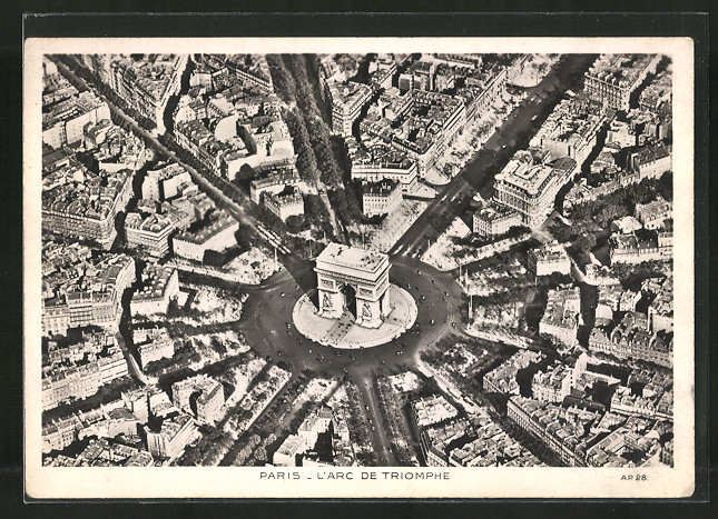 AK Paris, L'Arc de Triomphe, Triumphbogen vom Flugzeug aus