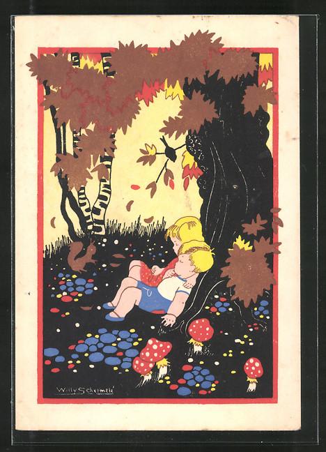 Künstler-AK Willy Schermele: Hans en Grietje, Hänsel und Gretel schlafen im Wald