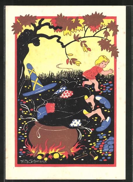 Künstler-AK Willy Schermele: Hans en Grietje, Gretel stösst die Hexe in den Topf