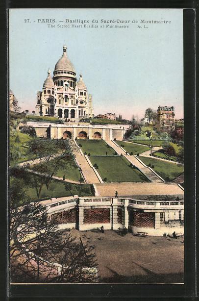 AK Paris, Basilique du Sacré-Coeur de Montmartre, Basilika mit Treppen