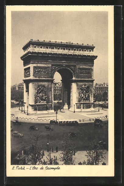 AK Paris, L'Arc de Triomphe, Totale vom Triumphbogen