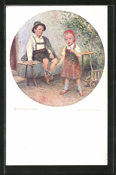Künstler-AK Brüder Kohn (B.K.W.I) Nr. 1308: Spielkameraden, Zwei Buben