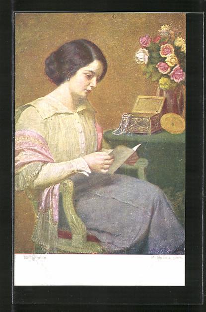 Künstler-AK Brüder Kohn (B.K.W.I) Nr. 2165: Geschenke, Lesende junge Dame