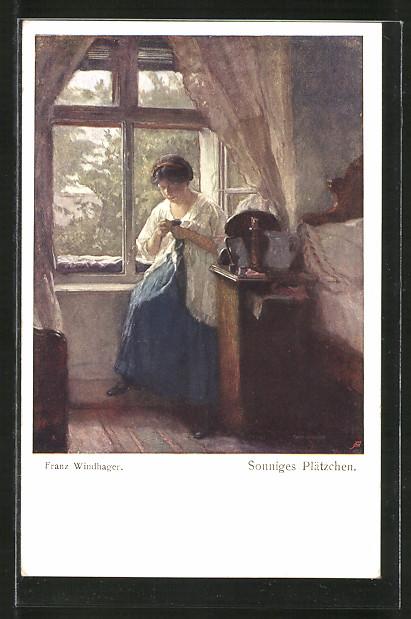 Künstler-AK Brüder Kohn (B.K.W.I) Nr. 1046: Sonniges Plätzchen, Frau bei Handarbeit