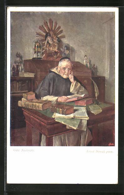 Künstler-AK Brüder Kohn (B.K.W.I) Nr. 1525: Gute Nachricht, Katholischer Geistlicher