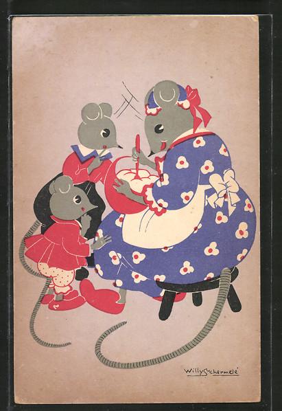 Künstler-AK Willy Schermele: Mäusemutter mit Kindern