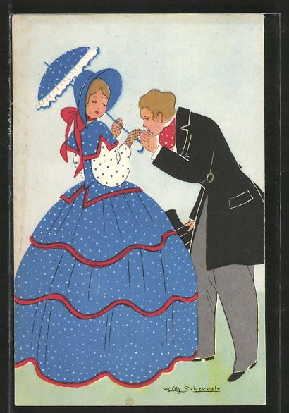 Künstler-AK Willy Schermele: Elegantes junges Paar aus dem 19. Jahrhundert