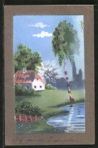 Künstler-AK Handgemalt: Haus mit Reetdach am Wasser