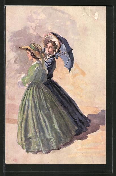 Künstler-AK Wohlgemuth & Lissner, Primus-Postkarte No. 3225, Die zwei Freundinnen, Junge Damen
