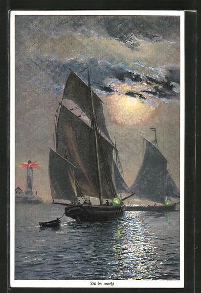 Künstler-AK Wohlgemuth & Lissner, Primus-Postkarte No. 1151, Küstenwacht, Seenotrettung