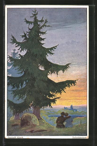 Künstler-AK Wohlgemuth & Lissner, Primus-Postkarte No. 3101, Zukunftsträume, Paar unter Tanne