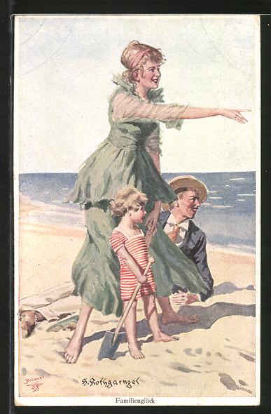 Künstler-AK Wohlgemuth & Lissner, Primus-Postkarte No. 1181, Am Strande, Familienglück
