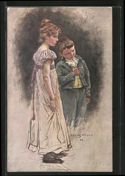 Künstler-AK Wohlgemuth & Lissner, Primus-Postkarte No. 3077, Die Geschwister, Kinder