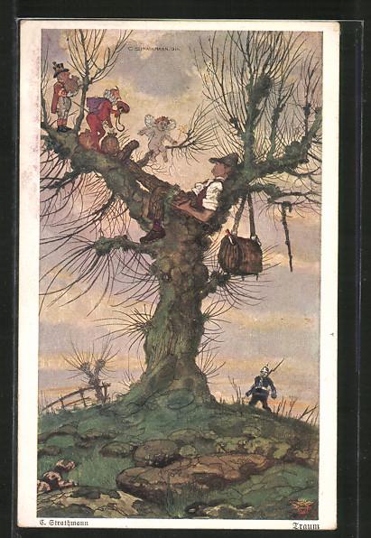 Künstler-AK Wohlgemuth & Lissner, Primus-Postkarte No. 3003, Traum, Schlafender Vagabund und Feenwesen