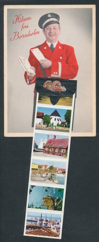 Leporello-AK Bornholm, Briefträger mit Briefe, versch. Ansichten