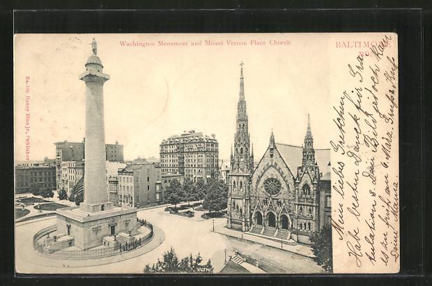 AK Baltimore, MD, Washington Monument and Mount Vernon Place Church