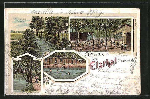 Lithographie Luckenwalde, Badeanstalt und Restaurant Elsthal