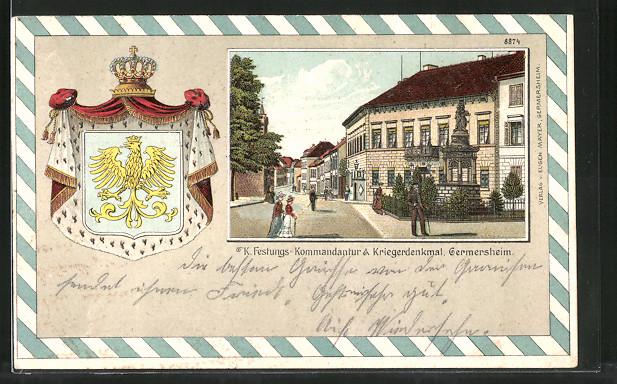 Passepartout-Lithographie Germersheim, K. Festungs-Kommandantur & Kriegerdenkmal, Wappen
