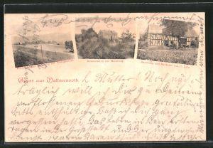 AK Wallmenroth, Gasthaus zur Muhlburg, Handlung Bäckerei c. Lütz, Blick vom Gasthaus auf den Ort