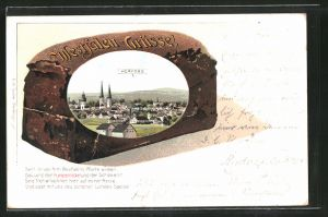 Passepartout-Lithographie Herford, Ansicht der Stadt auf einem Pumpernickel-Brot