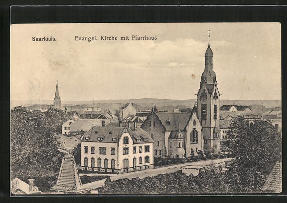 AK Saarlouis, Evangelische Kirche mit Pfarrhaus