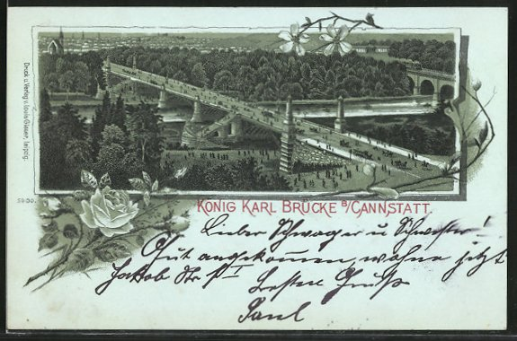 Mondschein-Lithographie Cannstatt, Blick auf die König Karl Brücke