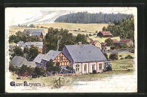 Künstler-AK Pöhl, Panorama mit dem Gasthof Alt-Jocketa