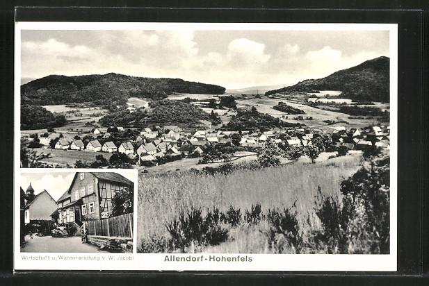 AK Allendorf-Hohenfels, Panorama & Wirtschaft u. Warenhandlung v. W. Jacobi