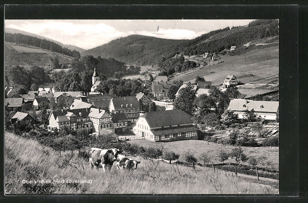 AK Oberkirchen, Ortsansicht vom Hügel aus
