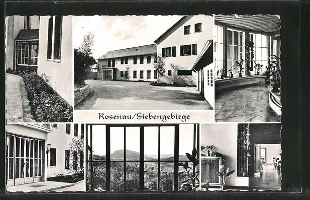 AK Königswinter, Bergmann-Erholungswerk E.V. Heim Rosenau mit Innenansichten
