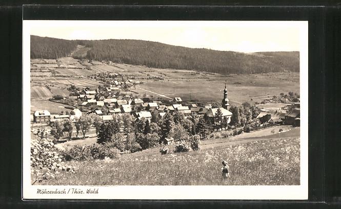 AK Möhrenbach, Ortspanorama vom Berg aus gesehen