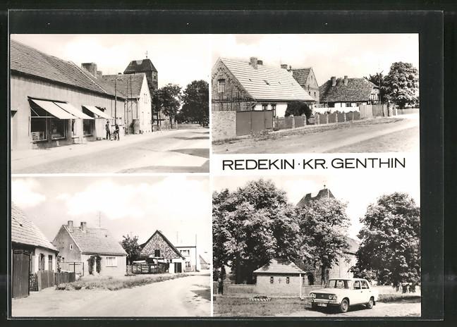 AK Redekin, Ortsansicht mit Strassenpartien, Geschäft und Kirche