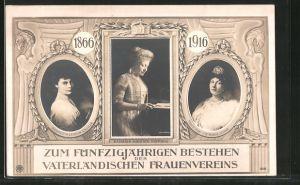 AK Zum 50 jährigen Bestehen des Vaterländischen Frauenvereins, 1866 - 1916, Kaiserin Auguste Victoria