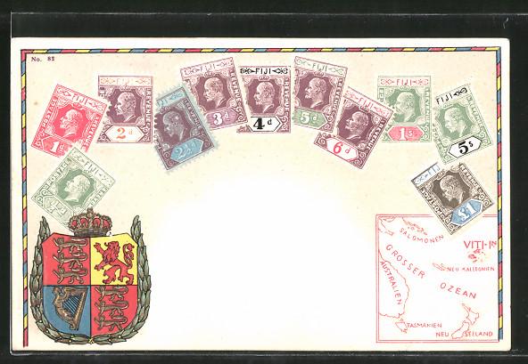 Präge-AK Briefmarken und Wappen von Fiji