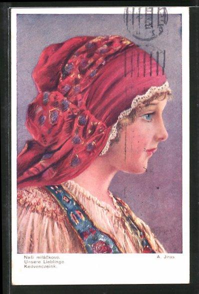 Künstler-AK sign. A. Jiras: Junge Frau in Tracht mit rotem Kopftuch